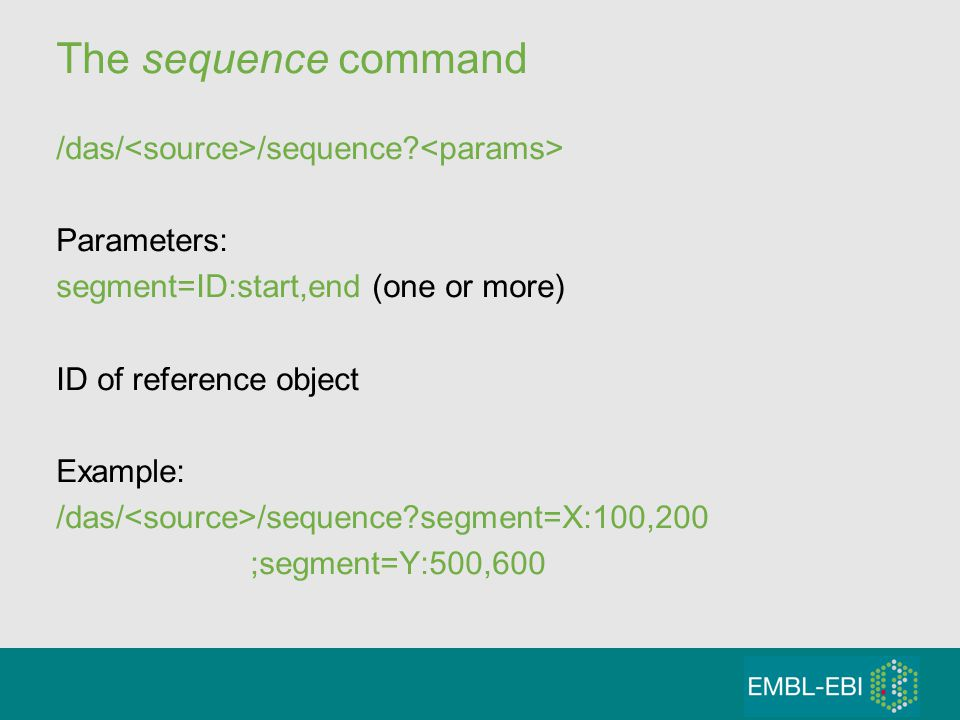 The sequence command /das/ /sequence.