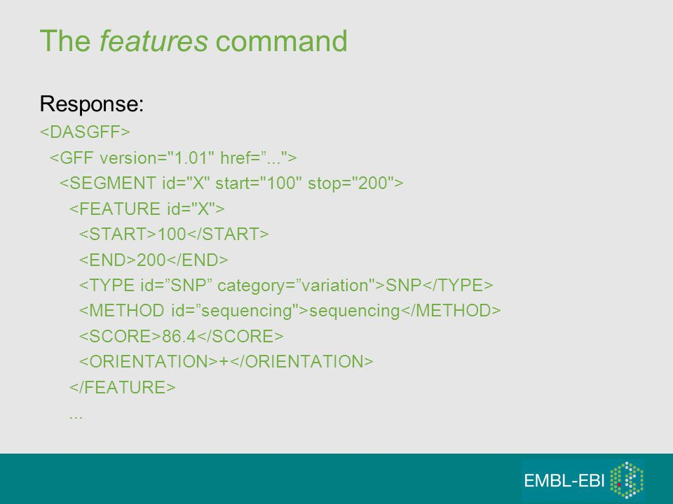 The features command Response: 100 200 SNP sequencing 86.4 +...