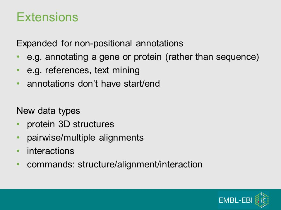 Extensions Expanded for non-positional annotations e.g.