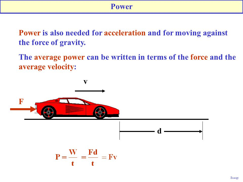 Power is also needed for acceleration and for moving against the force of gravity. The average power can be written in terms of the force and the aver