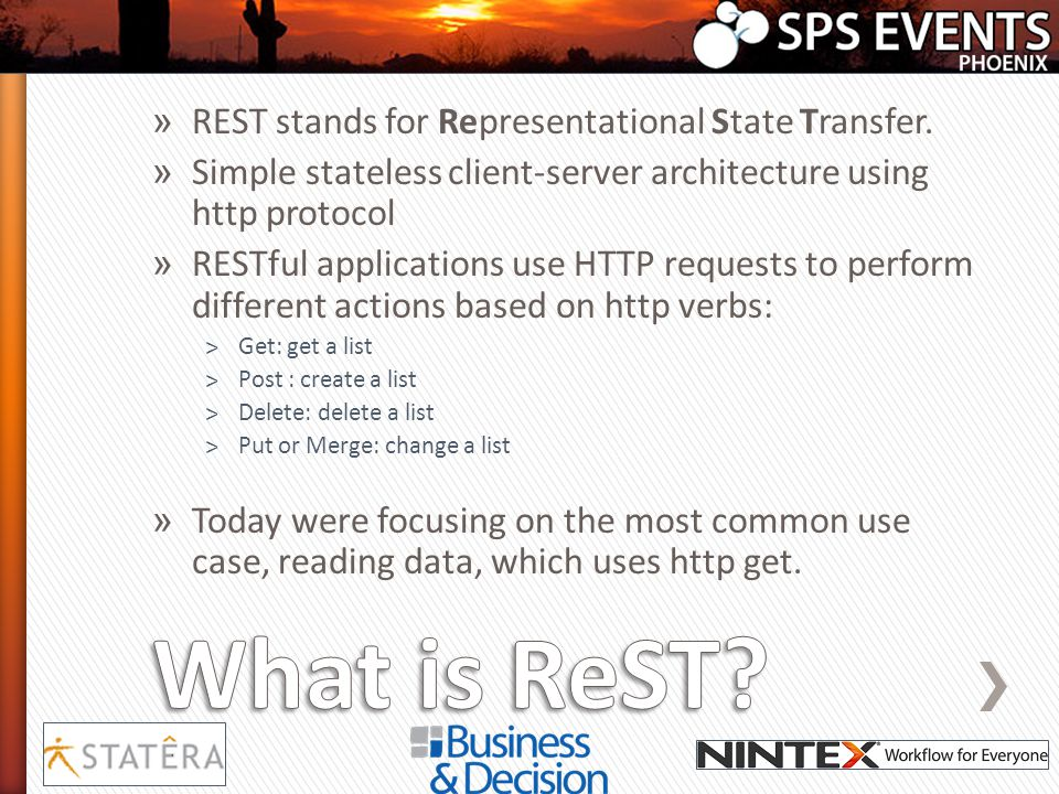 » REST stands for Representational State Transfer. » Simple stateless client-server architecture using http protocol » RESTful applications use HTTP r