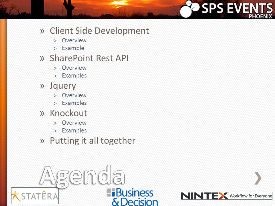 » Client Side Development ˃Overview ˃Example » SharePoint Rest API ˃Overview ˃Examples » Jquery ˃Overview ˃Examples » Knockout ˃Overview ˃Examples » P