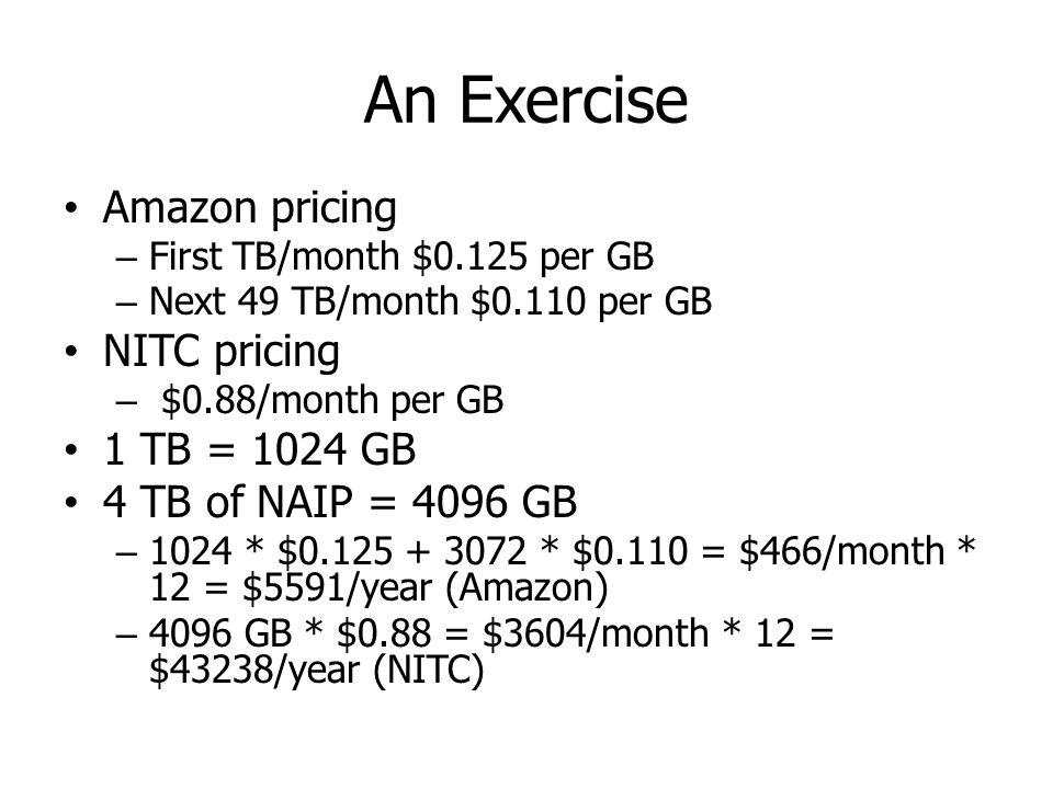 An Exercise Amazon pricing – First TB/month $0.125 per GB – Next 49 TB/month $0.110 per GB NITC pricing – $0.88/month per GB 1 TB = 1024 GB 4 TB of NA