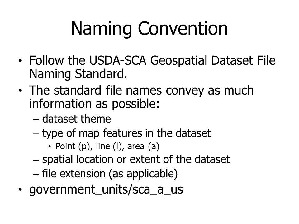 Naming Convention Follow the USDA-SCA Geospatial Dataset File Naming Standard. The standard file names convey as much information as possible: – datas