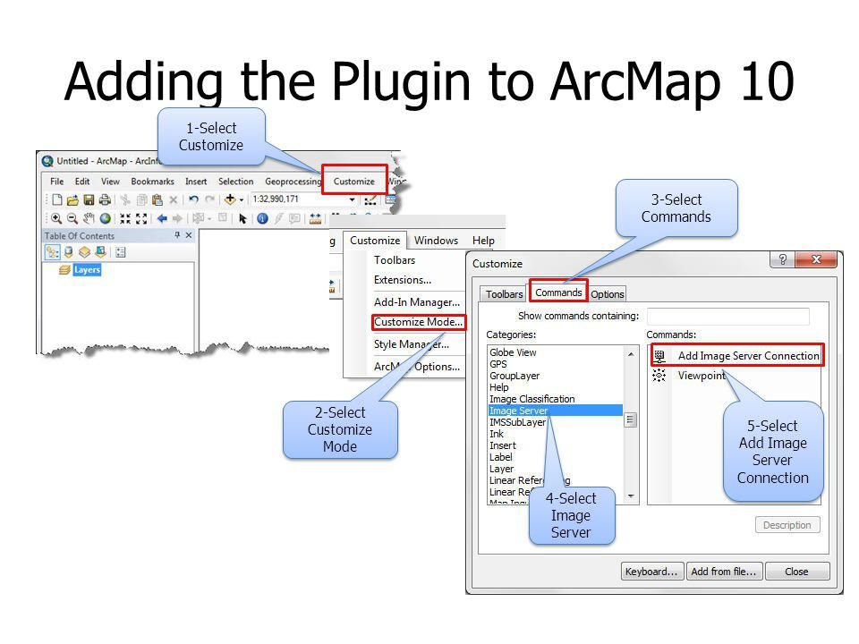Adding the Plugin to ArcMap 10 1-Select Customize 2-Select Customize Mode 3-Select Commands 4-Select Image Server 5-Select Add Image Server Connection