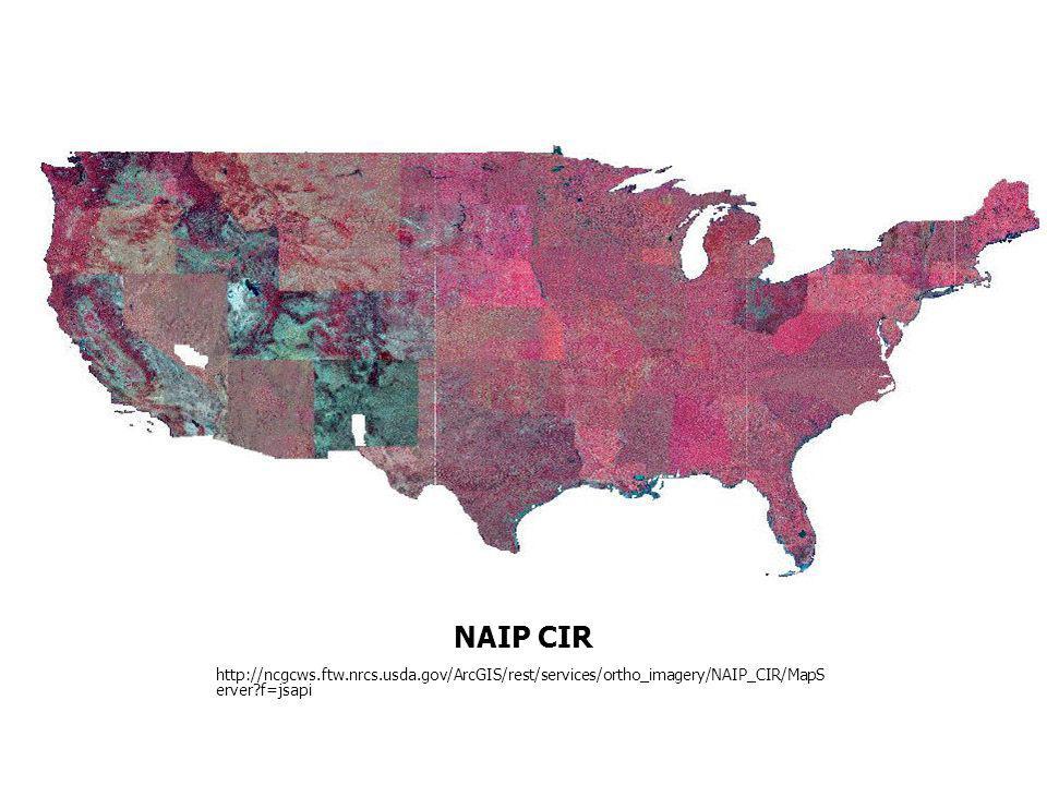 NAIP CIR http://ncgcws.ftw.nrcs.usda.gov/ArcGIS/rest/services/ortho_imagery/NAIP_CIR/MapS erver?f=jsapi