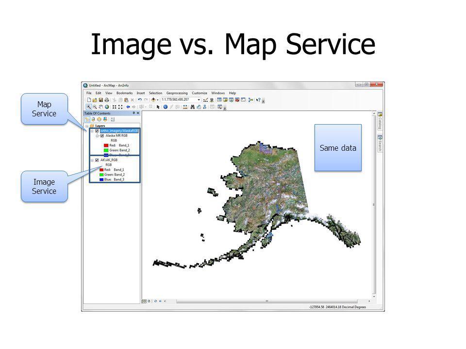 Image vs. Map Service Map Service Image Service Same data