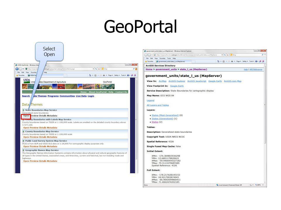 GeoPortal Select Open