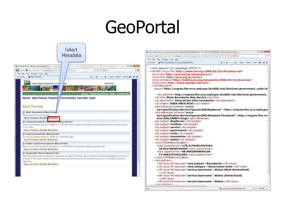 GeoPortal Select Metadata