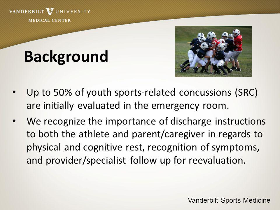Vanderbilt Sports Medicine Background Up to 50% of youth sports-related concussions (SRC) are initially evaluated in the emergency room.