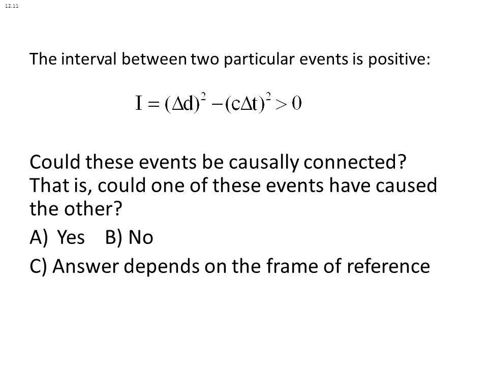 The interval between two particular events is positive: Could these events be causally connected? That is, could one of these events have caused the o