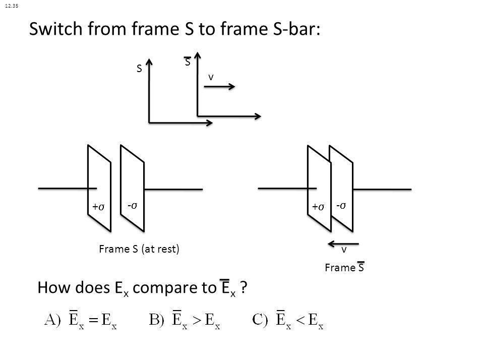 S S v Switch from frame S to frame S-bar: + - Frame S (at rest) + - Frame S v How does E x compare to E x ? 12.35