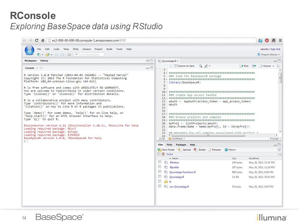 14 RConsole Exploring BaseSpace data using RStudio