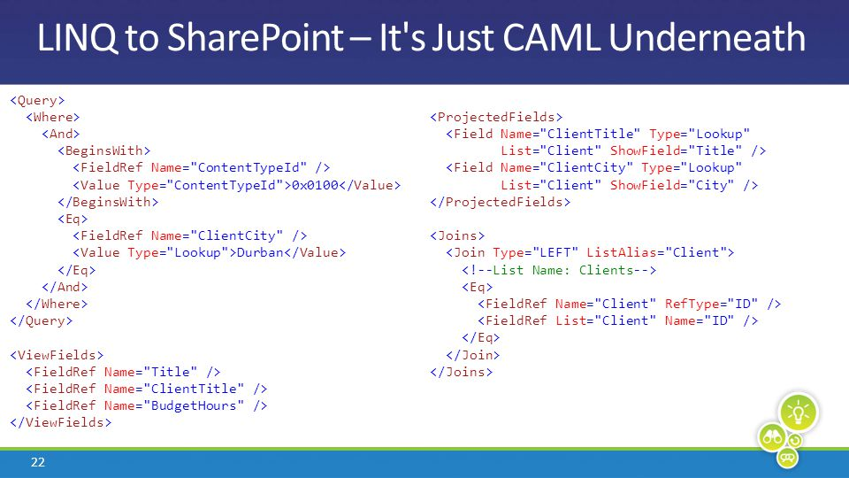 22 LINQ to SharePoint – It's Just CAML Underneath 0x0100 Durban <Field Name=