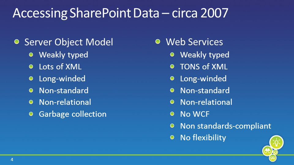 4 Accessing SharePoint Data – circa 2007 Server Object Model Weakly typed Lots of XML Long-winded Non-standard Non-relational Garbage collection Web S