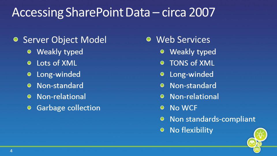 15 Overview of Data Technologies LINQLINQ Data Platform Farm Site List Data External Lists Server OM Client OM REST APIs Web Web Services