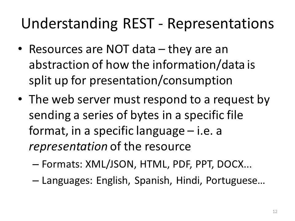 Understanding REST - Representations Resources are NOT data – they are an abstraction of how the information/data is split up for presentation/consump