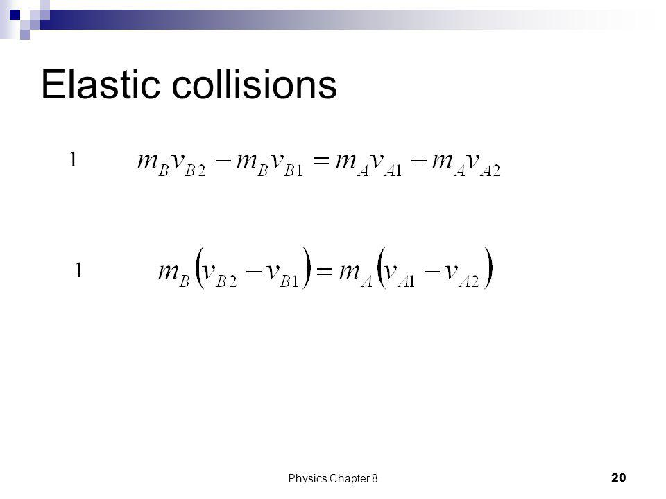 Elastic collisions For elastic collisions, both p and K are conserved. 1 2 19Physics Chapter 8