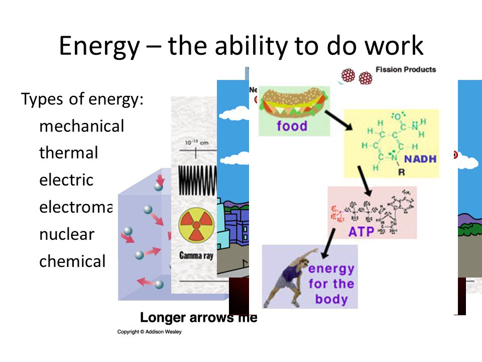 Energy – the ability to do work Types of energy: mechanical thermal electric electromagnetic nuclear chemical