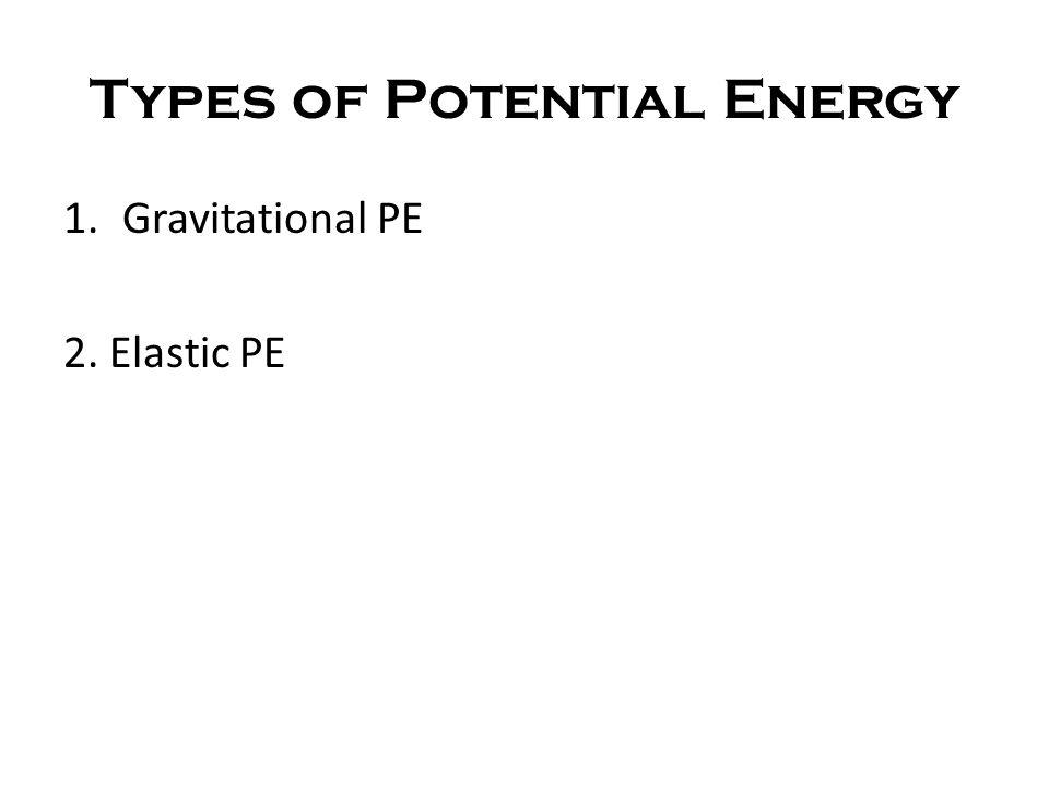 Types of Potential Energy 1.Gravitational PE 2. Elastic PE