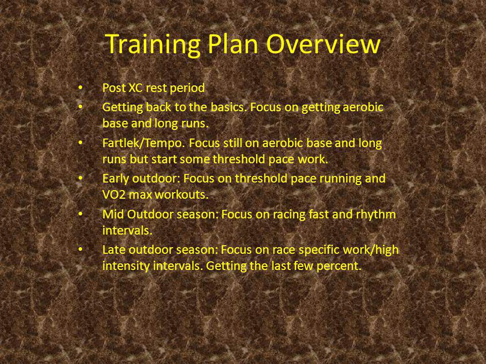 Training Plan Overview Post XC rest period Getting back to the basics.
