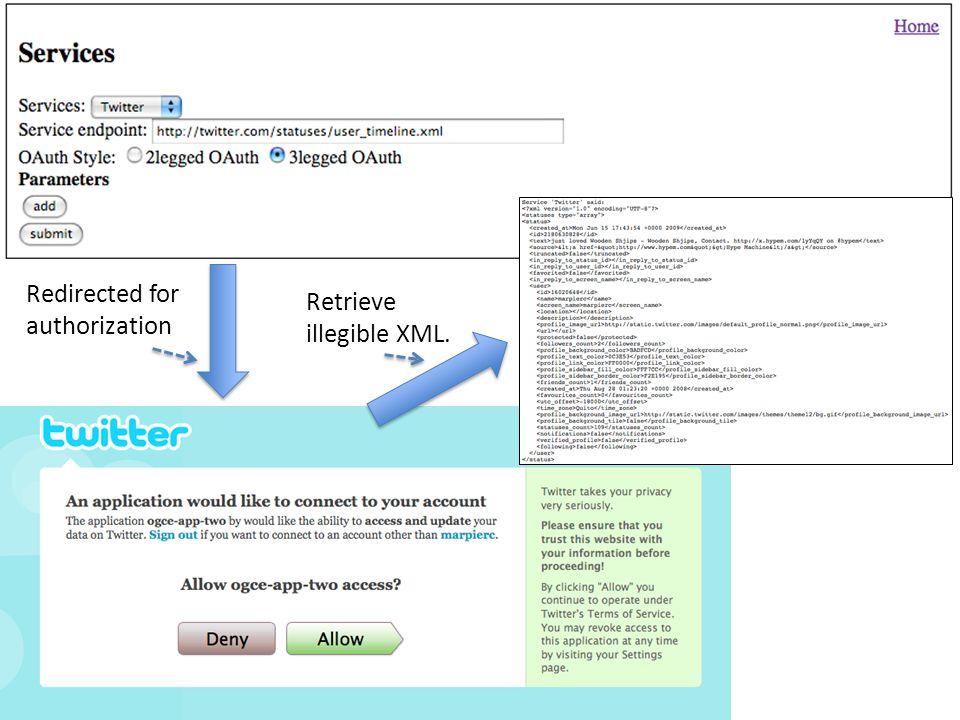 Redirected for authorization Retrieve illegible XML.
