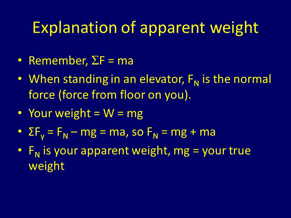 Example: moving elevators A 100 kg man is on an elevator that is accelerating upwards at a rate of 5 m/s 2.