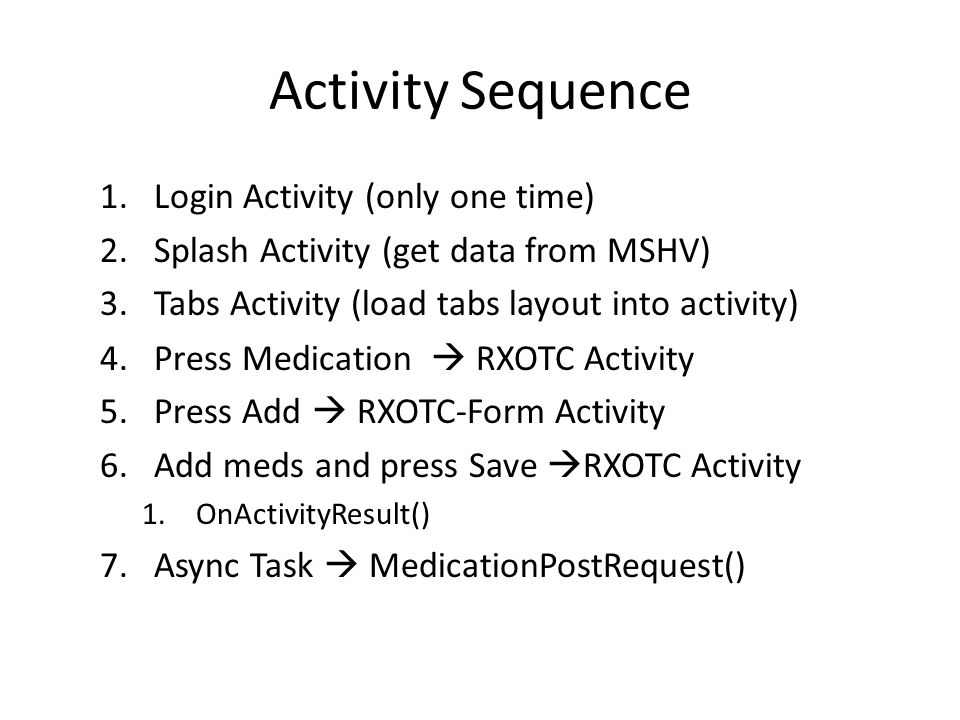 Activity Sequence 1.Login Activity (only one time) 2.Splash Activity (get data from MSHV) 3.Tabs Activity (load tabs layout into activity) 4.Press Medication RXOTC Activity 5.Press Add RXOTC-Form Activity 6.Add meds and press Save RXOTC Activity 1.OnActivityResult() 7.Async Task MedicationPostRequest()