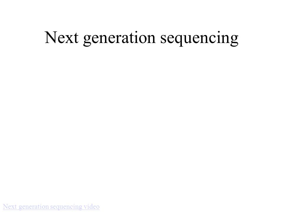 Next generation sequencing Next generation sequencing video