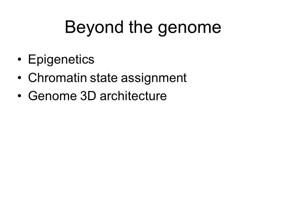 Beyond the genome Epigenetics Chromatin state assignment Genome 3D architecture