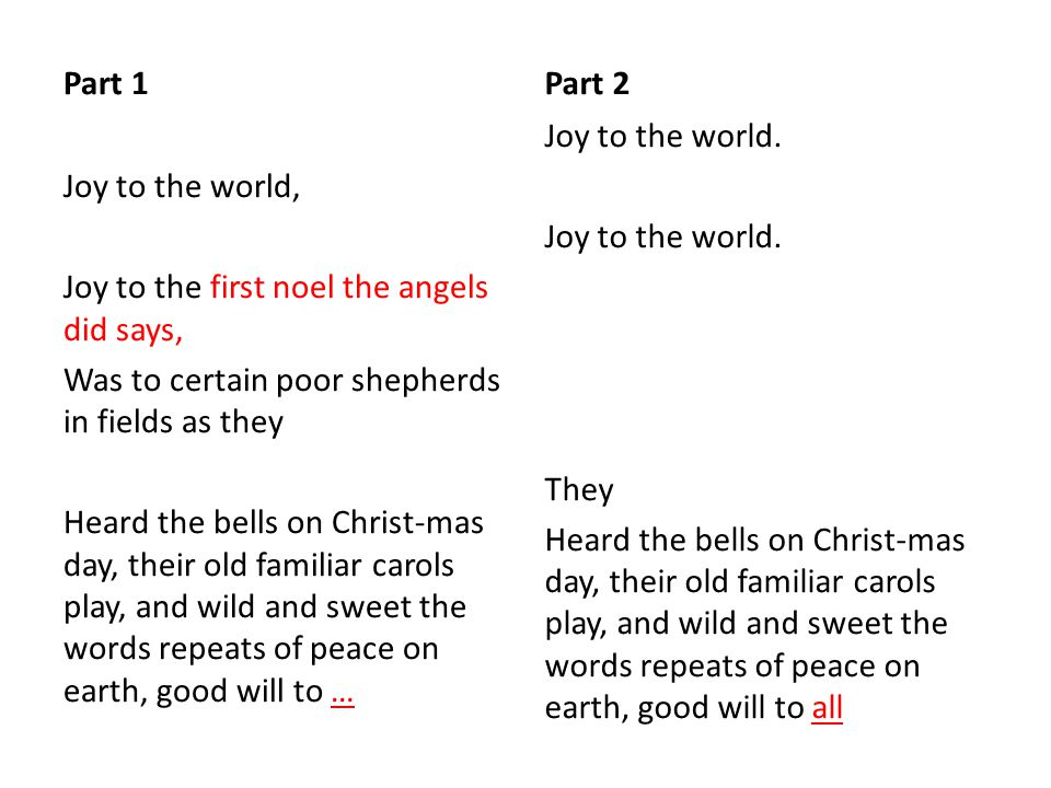 Part 1 Joy to the world, Joy to the first noel the angels did says, Was to certain poor shepherds in fields as they Heard the bells on Christ-mas day, their old familiar carols play, and wild and sweet the words repeats of peace on earth, good will to … Part 2 Joy to the world.