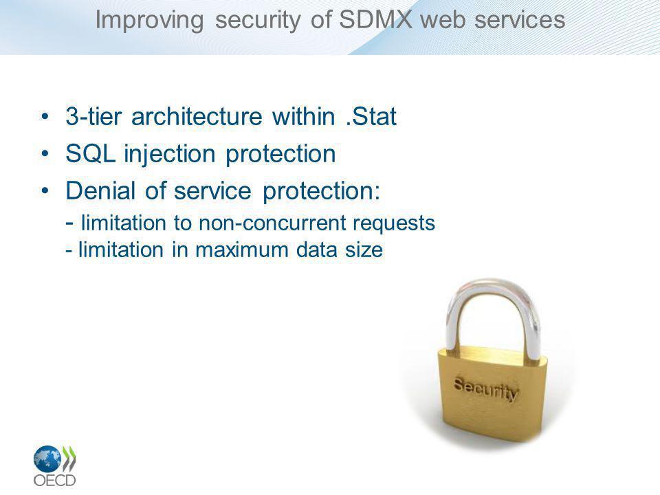 Improving error messages in SDMX web services SOAP WS returns SDMX-defined SOAP errors REST WS return SDMX-defined HTTP errors Challenge: –Implementation of SDMX faultcode specification in soap errors sdmxerror:500