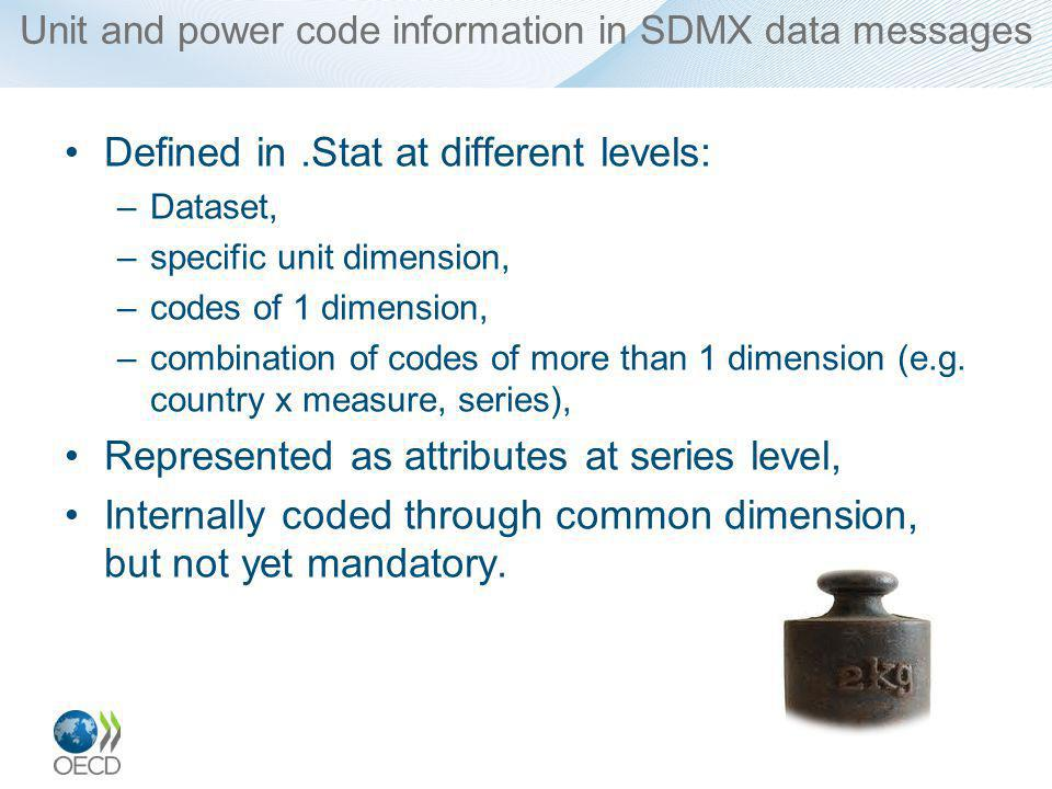 Unit and power code information in SDMX data messages Defined in.Stat at different levels: –Dataset, –specific unit dimension, –codes of 1 dimension, –combination of codes of more than 1 dimension (e.g.