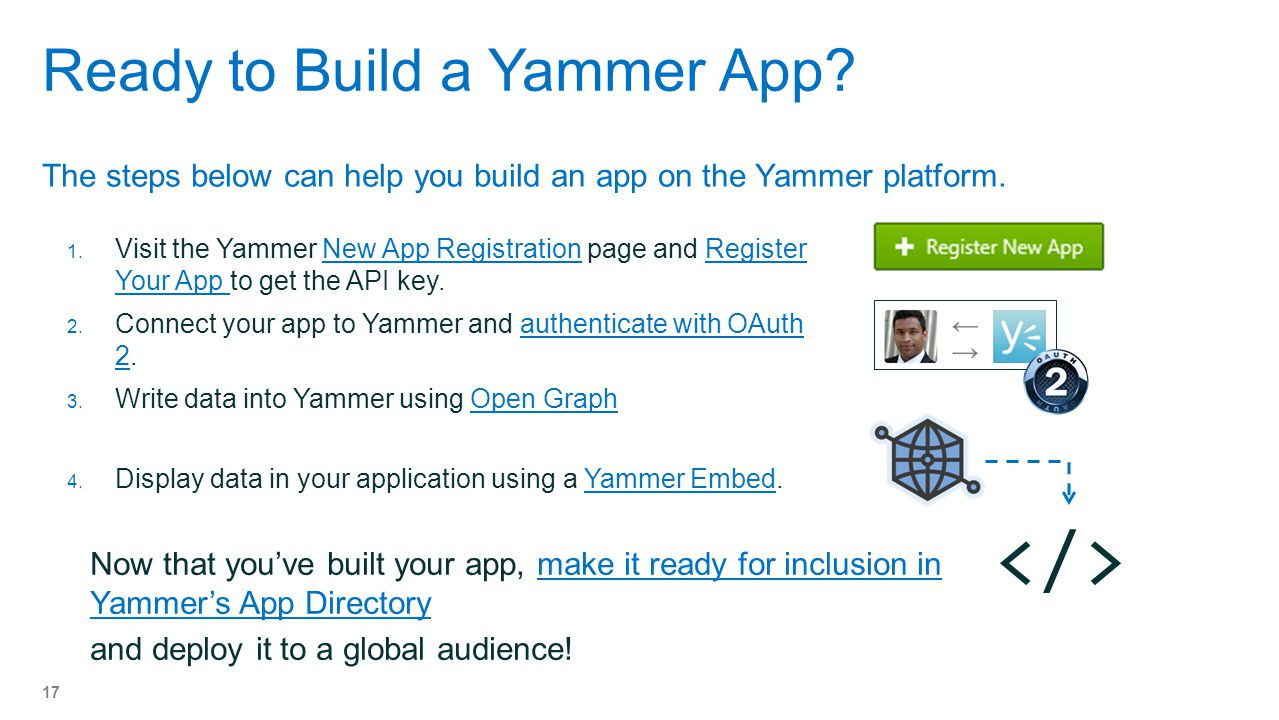 Ready to Build a Yammer App.The steps below can help you build an app on the Yammer platform.