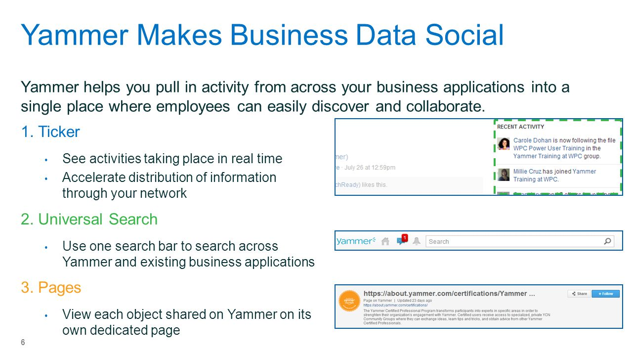 Yammer Makes Business Data Social Yammer helps you pull in activity from across your business applications into a single place where employees can easily discover and collaborate.