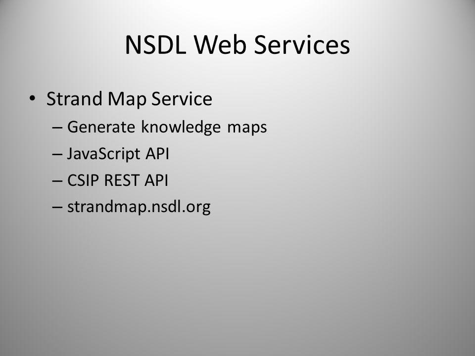 NSDL Web Services Strand Map Service – Generate knowledge maps – JavaScript API – CSIP REST API – strandmap.nsdl.org