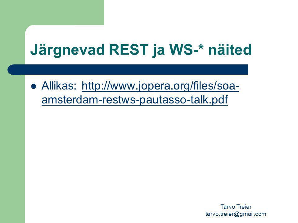 Järgnevad REST ja WS-* näited Allikas: http://www.jopera.org/files/soa- amsterdam-restws-pautasso-talk.pdfhttp://www.jopera.org/files/soa- amsterdam-restws-pautasso-talk.pdf Tarvo Treier tarvo.treier@gmail.com