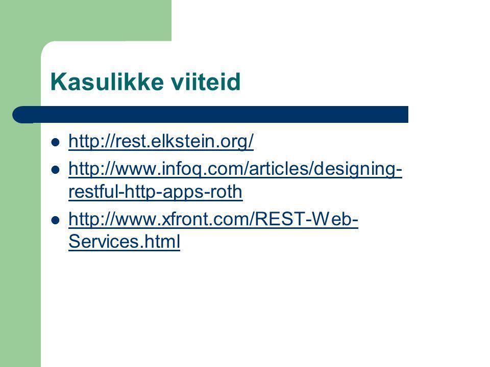 Kasulikke viiteid http://rest.elkstein.org/ http://www.infoq.com/articles/designing- restful-http-apps-roth http://www.infoq.com/articles/designing- restful-http-apps-roth http://www.xfront.com/REST-Web- Services.html http://www.xfront.com/REST-Web- Services.html