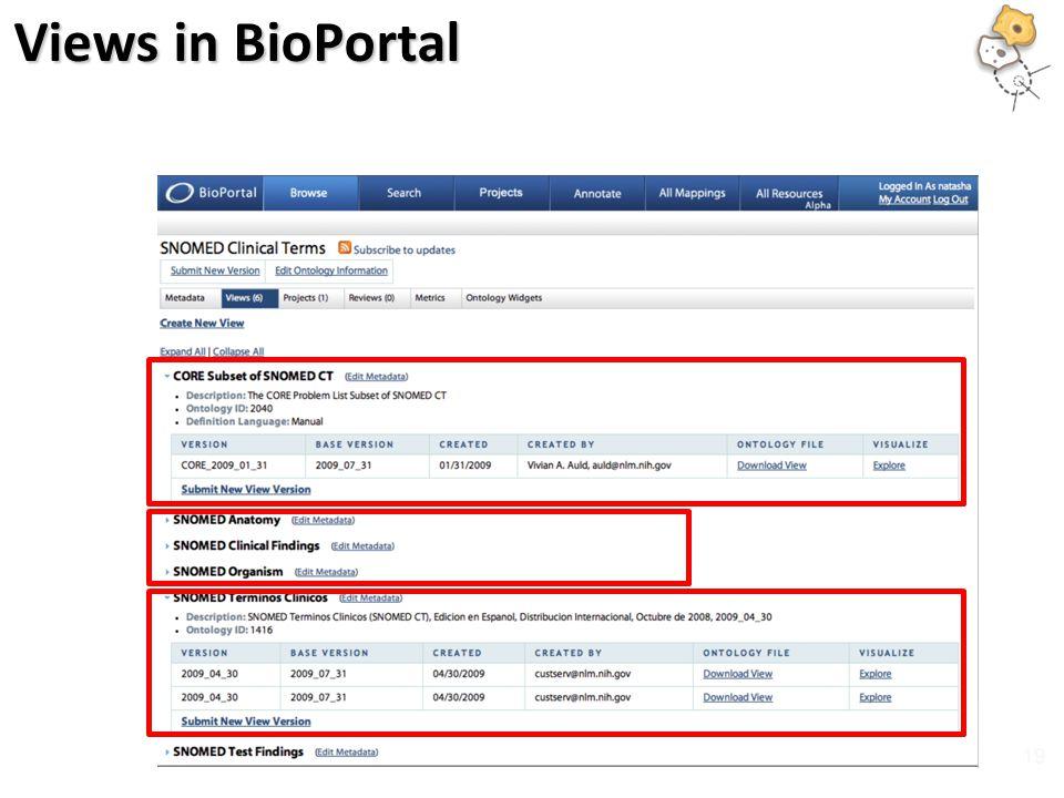 Views in BioPortal 19