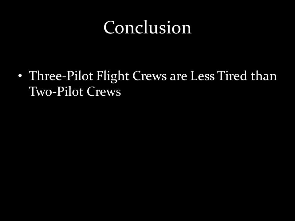 Conclusion Three-Pilot Flight Crews are Less Tired than Two-Pilot Crews