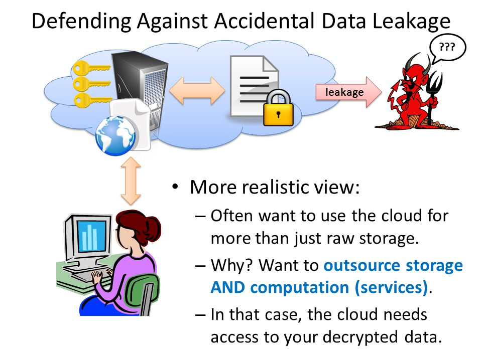 Defending Against Accidental Data Leakage More realistic view: – Often want to use the cloud for more than just raw storage. – Why? Want to outsource