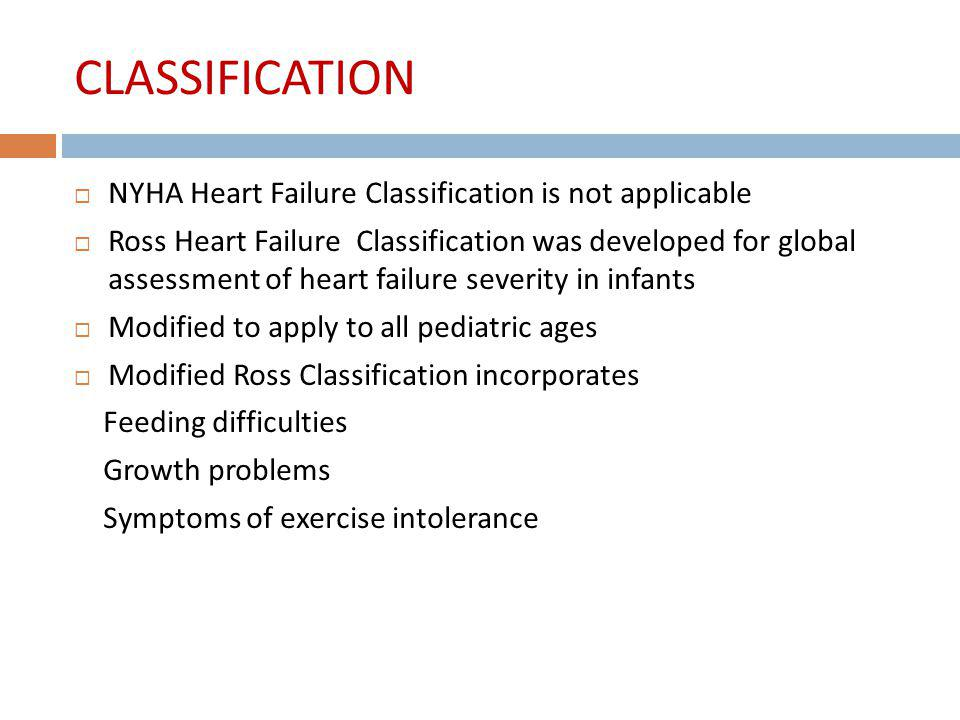CLASSIFICATION NYHA Heart Failure Classification is not applicable Ross Heart Failure Classification was developed for global assessment of heart fail
