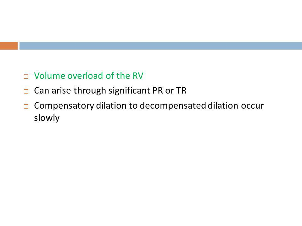 Volume overload of the RV Can arise through significant PR or TR Compensatory dilation to decompensated dilation occur slowly