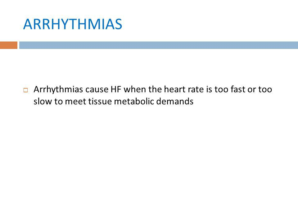 ARRHYTHMIAS Arrhythmias cause HF when the heart rate is too fast or too slow to meet tissue metabolic demands