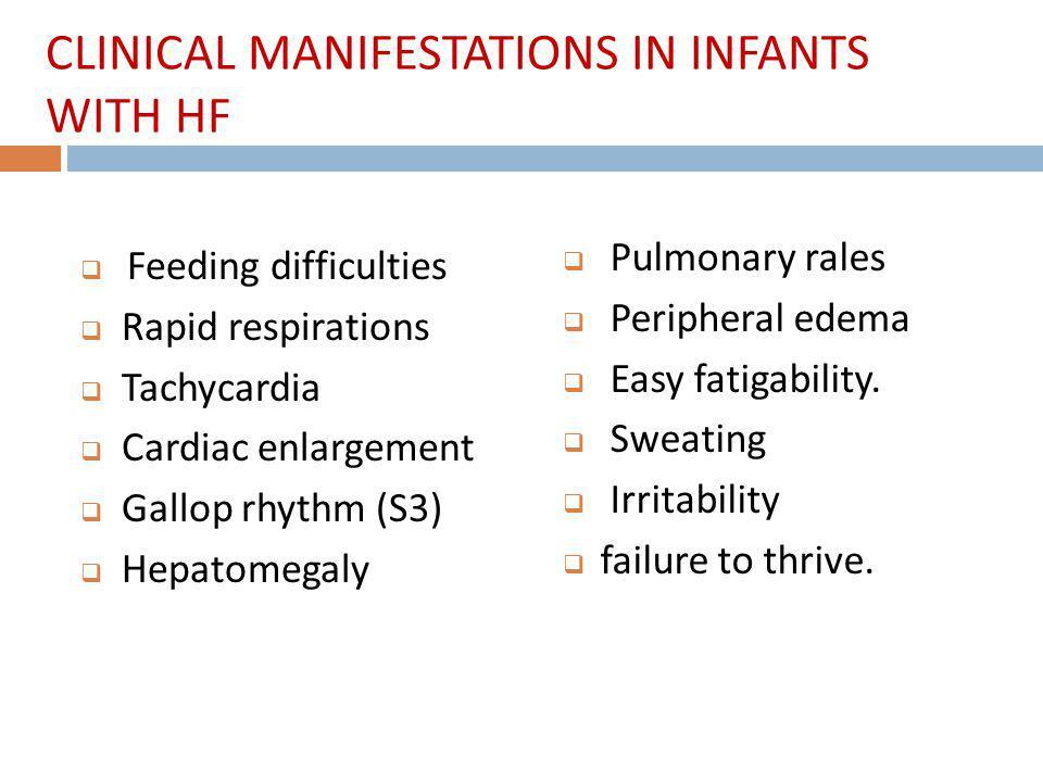 Feeding difficulties Rapid respirations Tachycardia Cardiac enlargement Gallop rhythm (S3) Hepatomegaly Pulmonary rales Peripheral edema Easy fatigability.