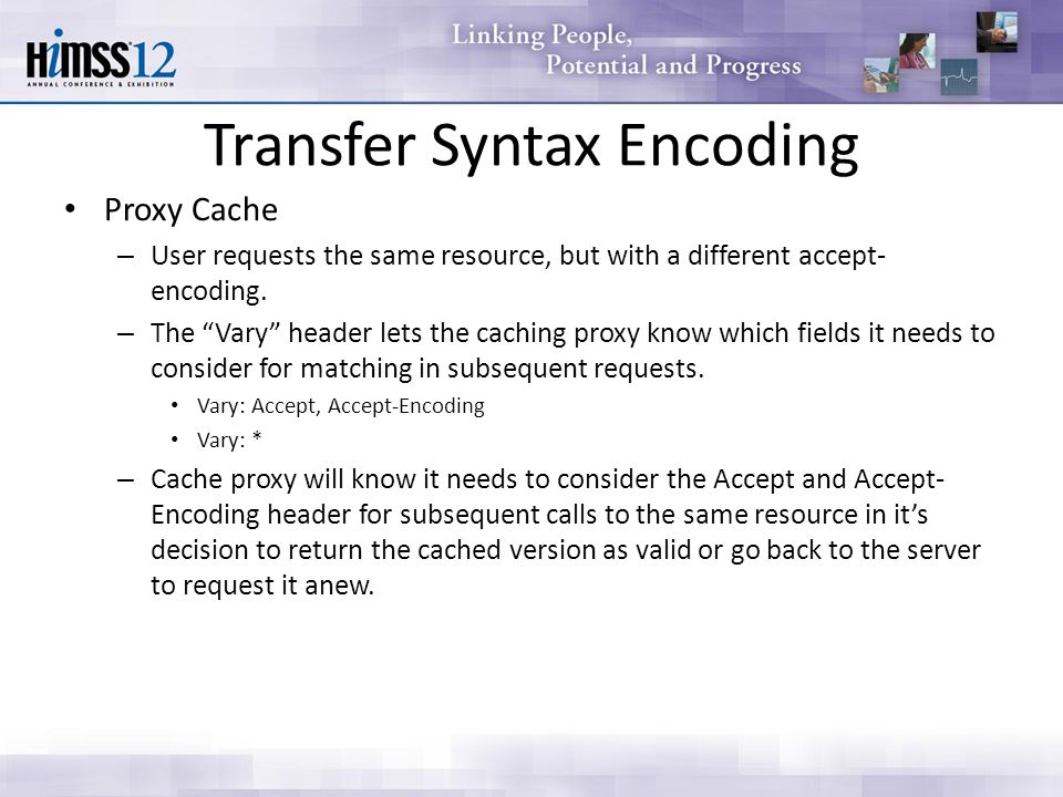 Transfer Syntax Encoding Proxy Cache – User requests the same resource, but with a different accept- encoding.
