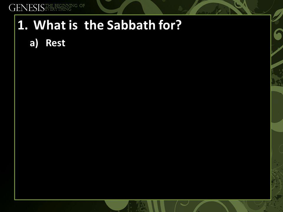 GENESIS The beginning of everything 1.What is the Sabbath for a)Rest