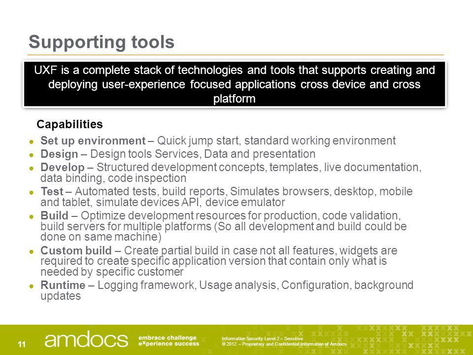 Supporting tools Set up environment – Quick jump start, standard working environment Design – Design tools Services, Data and presentation Develop – S