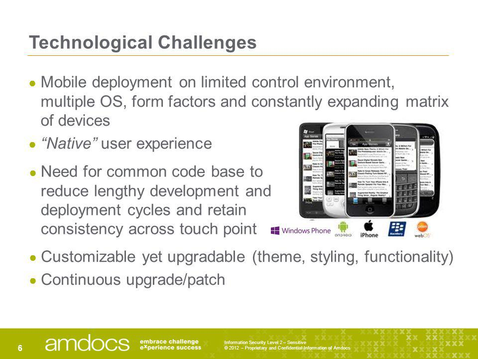Technological Challenges Information Security Level 2 – Sensitive © 2012 – Proprietary and Confidential Information of Amdocs 6 Mobile deployment on l