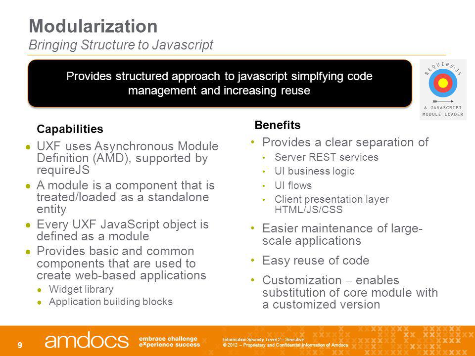Modularization Bringing Structure to Javascript UXF uses Asynchronous Module Definition (AMD), supported by requireJS A module is a component that is